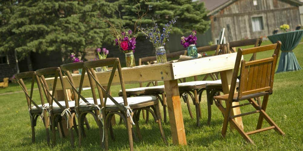 Summer farm dinner outdoor table