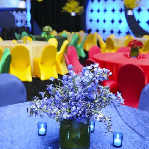 International tent events floral centerpieces
