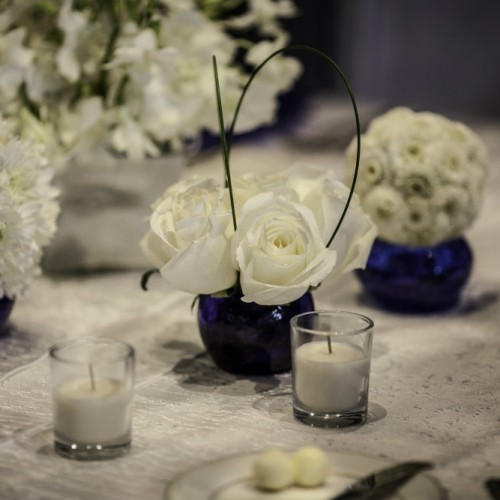Floral and candle decorations