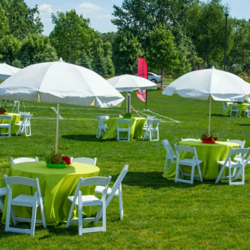 Summer Employee Picnic Tables with Umbrellas