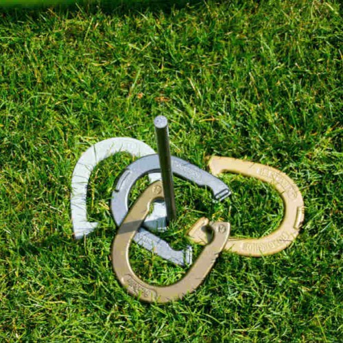 Horseshoes in the grass