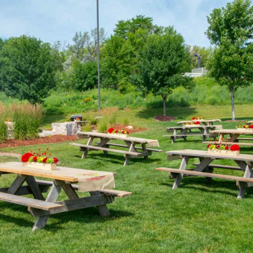 Summer picnic tables