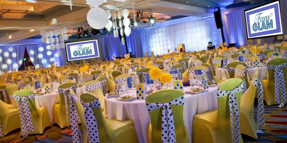 polkadot event decor green slip covers