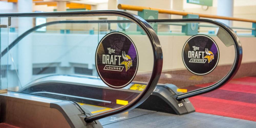 Vikings Draft branded escalator