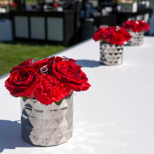 Cambria 2016 red flowers in vases