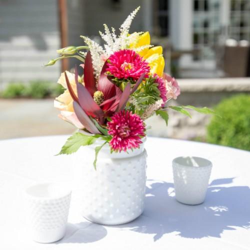 UHG milk glass vase floral