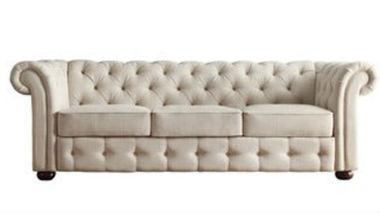 Beige Tufted Sofa 380 x 215