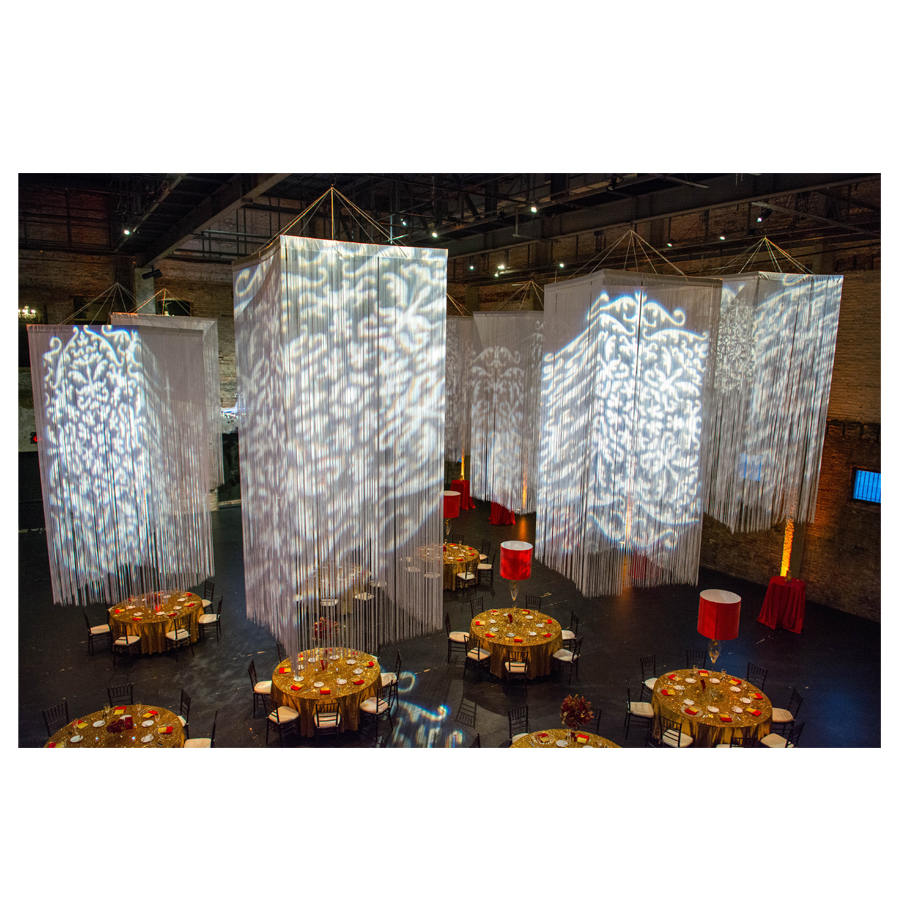 Chandelier rentals event dcor event lab square fringe curtains mozeypictures Images