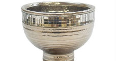 Silver Ceramic Bowl With Mirror Trim 230 x 120