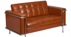 Cognac Leather & Chrome Loveseat