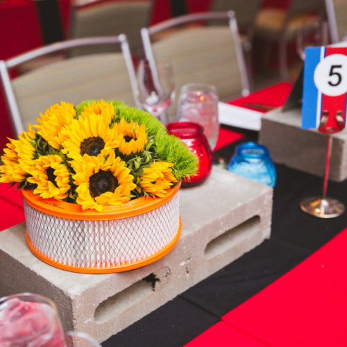 2018GeorgeLaskinBarMitzvah sunflower centerpiece