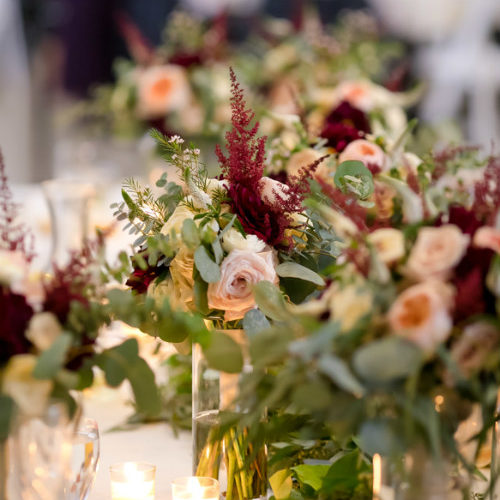 Marshall Bettendorf flowers with votives