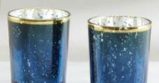 Blue mercury votive vases