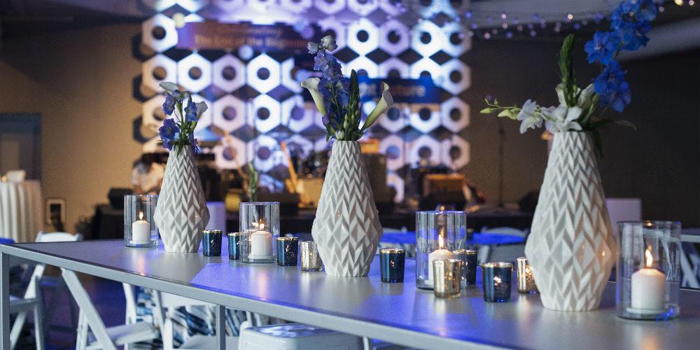 White vase party centerpieces