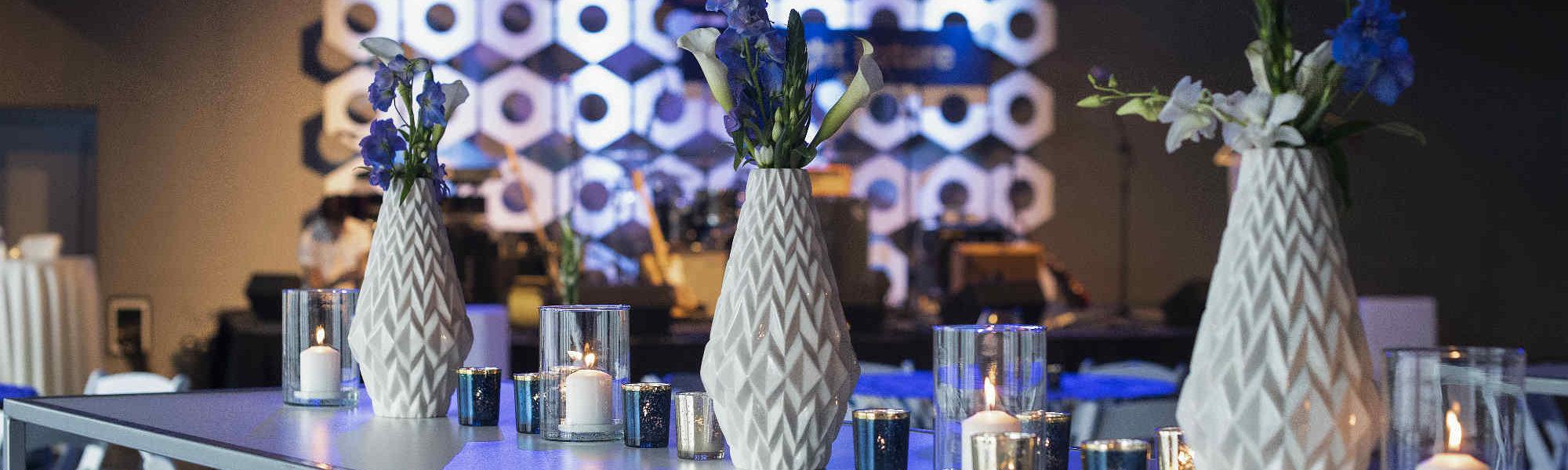 White vase centerpieces