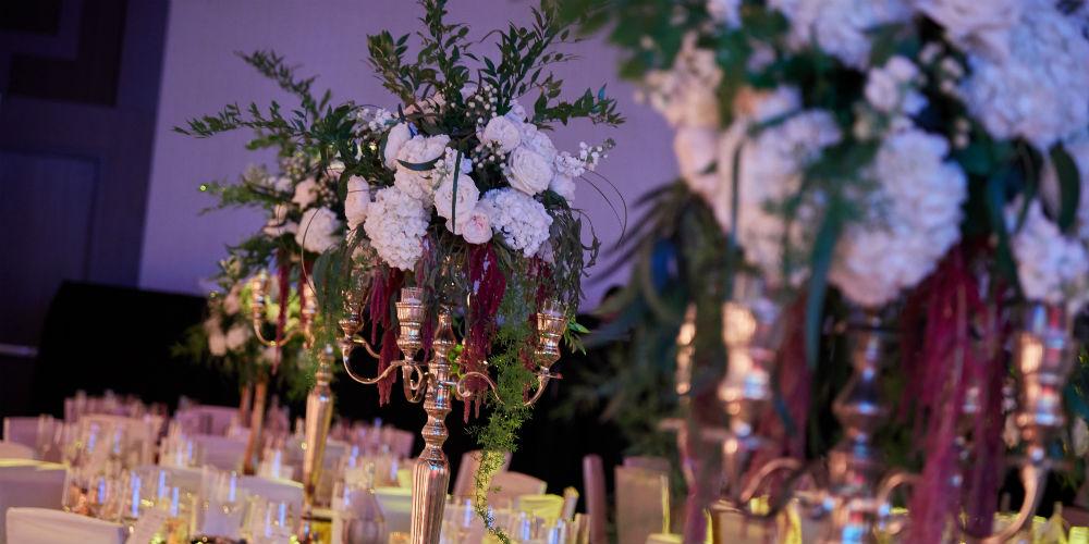 Italian dinner amaranthus floral centerpiece