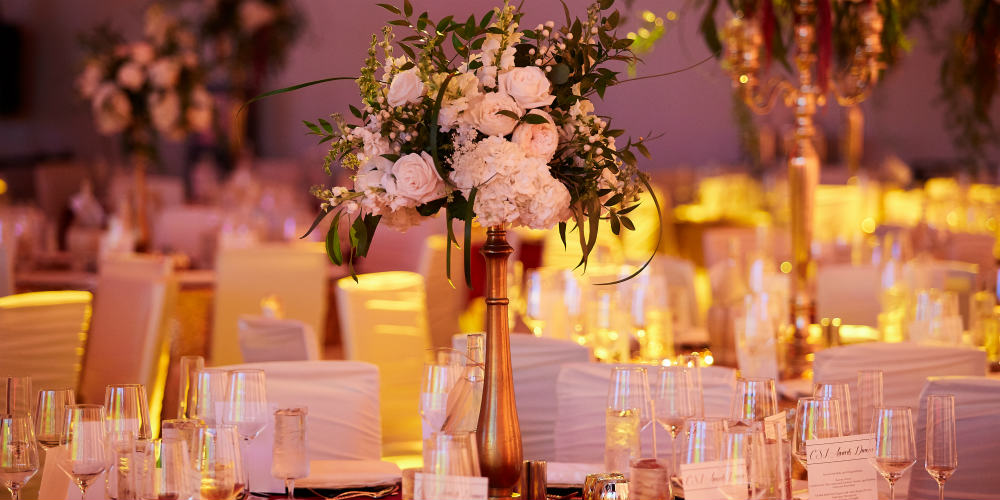 Gold decor at dinner party