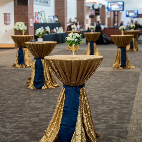 Gold and navy cocktail tables