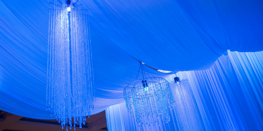 Ceiling drapery at event