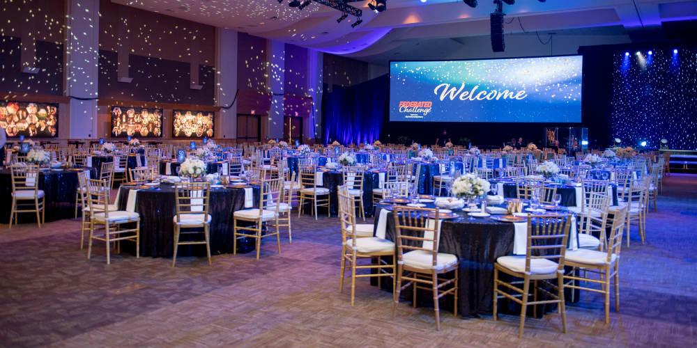 Ballroom tables at Italian dinner party