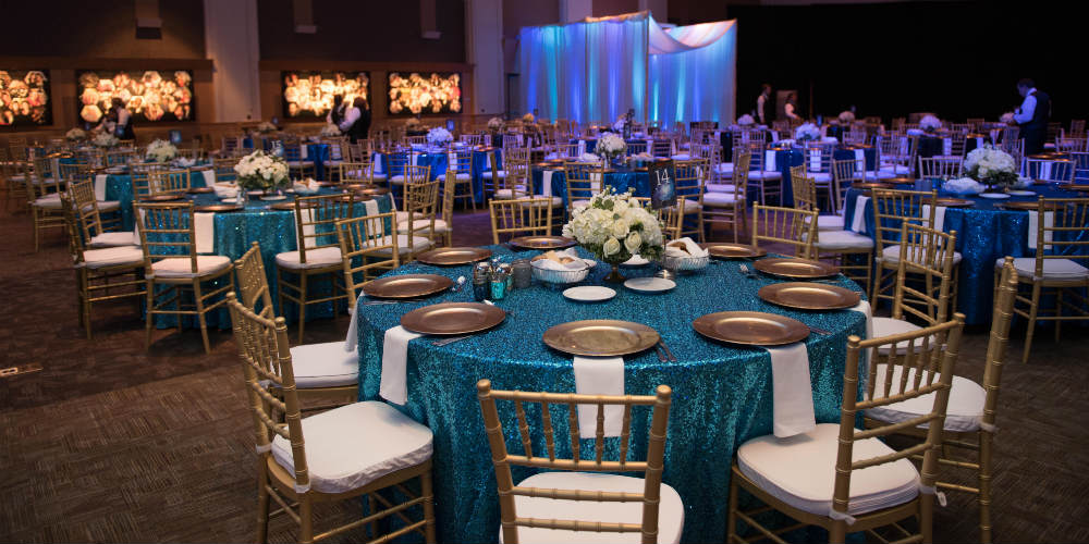 Turquoise sequin table linens