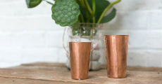 Copper hammered vases small