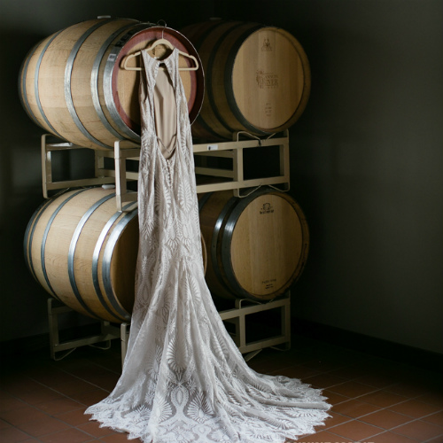 Barn Wedding wine barrel dress