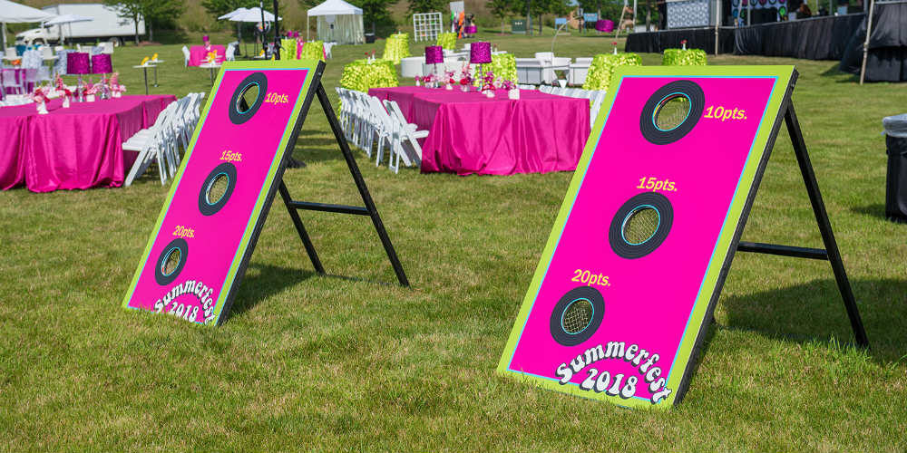 Pink Standing Corn Holes