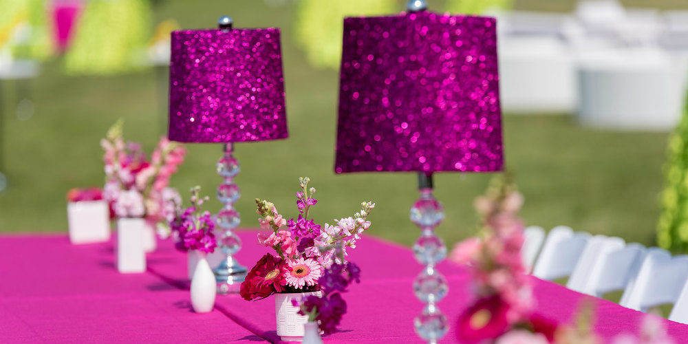 Pink Glitter Lamps close up