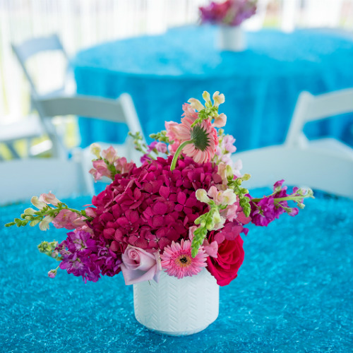 Pink Flowers on Turquoise Linen