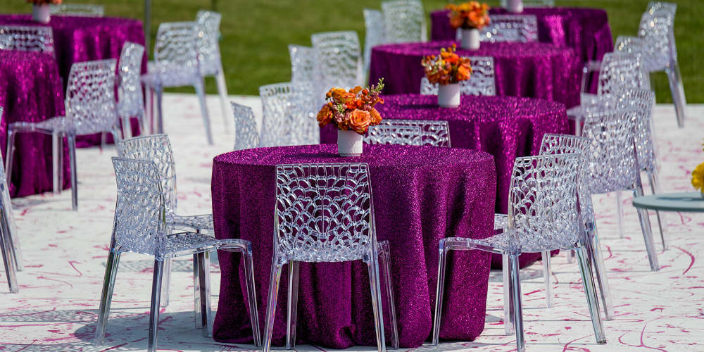 Pink Metallic Tables with Orange flowers