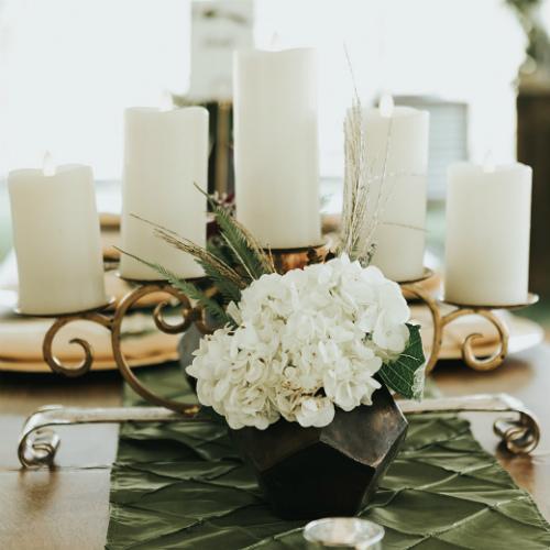 Alex and Anna Barrick White Candle centerpiece