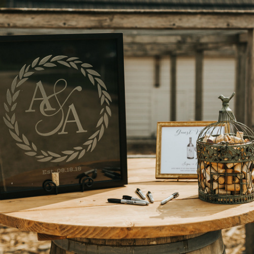 Alex and Anna Barrick logo Table