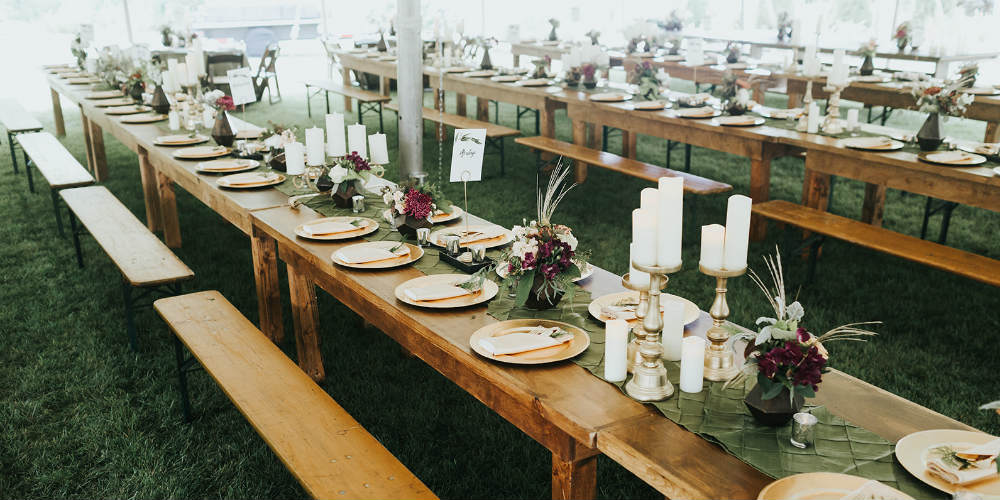 Alex and Anna Barrick long tables