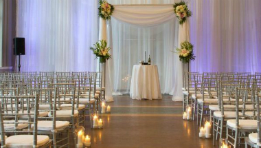 Wedding ceremony aisle candles