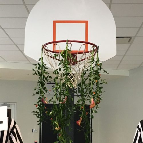 US Bank Stadium Basketball Hoop Flowers