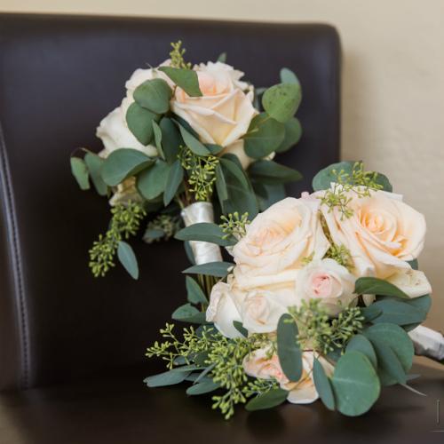 Jennifer-Charlie Spvacek Olson bouquet on chair