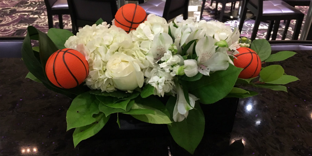 US Bank Stadium Floral with basketballs