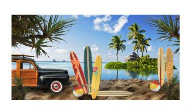 60s Beach Party Backdrop