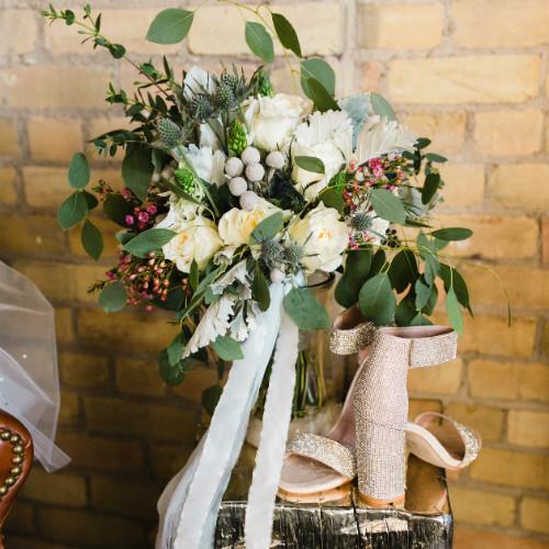 Claire and Alex Flitsch bouquet-shoes